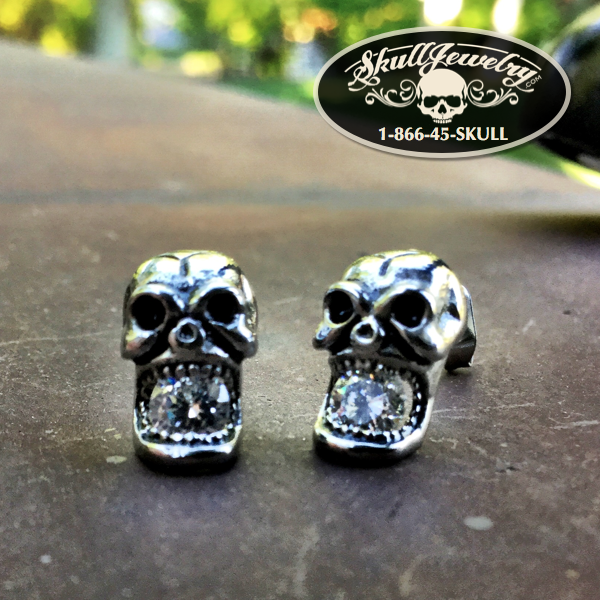 Antique Silver Plated Skull Earrings w/Clear Zircon Stone