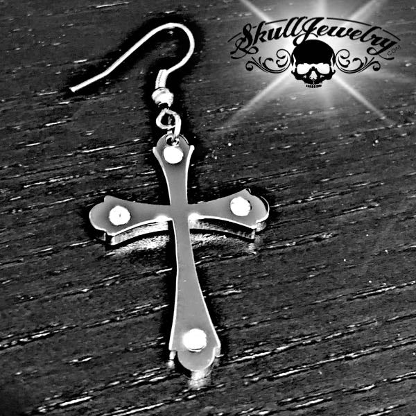 Stainless Steel Cross Earring w/Stones