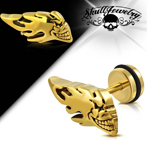 Flaming Skull Faux Fake Ear Plug