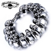 'Go Your Own Way' Big, Bold & Thick Stainless Steel Skulls Bracelet (894)