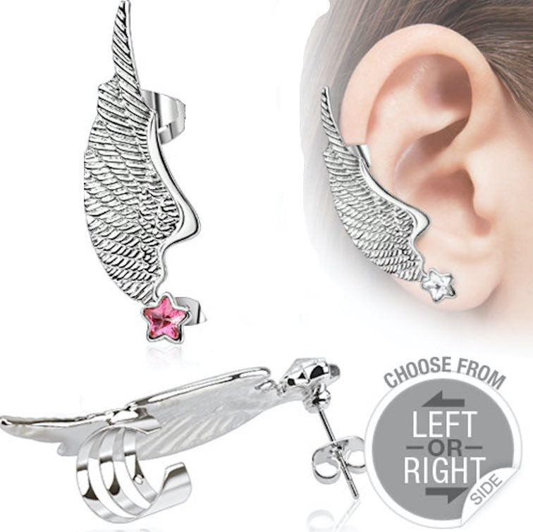 Angel Wing Ear Cuff with PINK Star CZ Stud