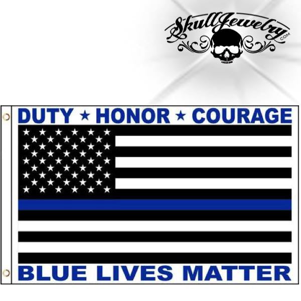 3' x 5' Duty, Honor & Courage Flag - blue lives matter