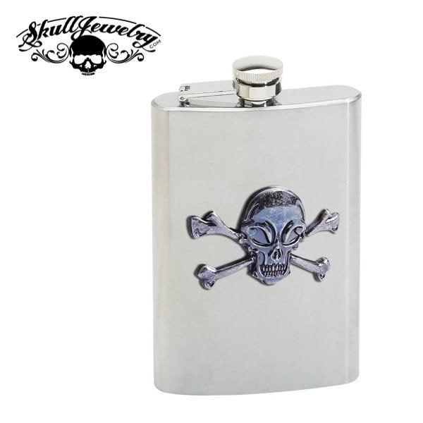 Skull & Crossbones 8oz. Stainless Steel Flask  Features brushed finish sides; polished finish top and bottom; and skull and crossbones emblem.