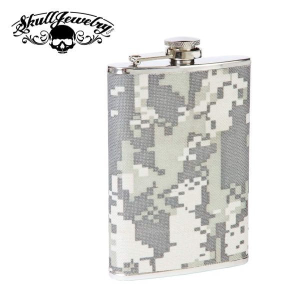 Digital Camo 8 oz. Stainless Steel Flask  Features polished finish, fabric wrap, and screw-down cap.