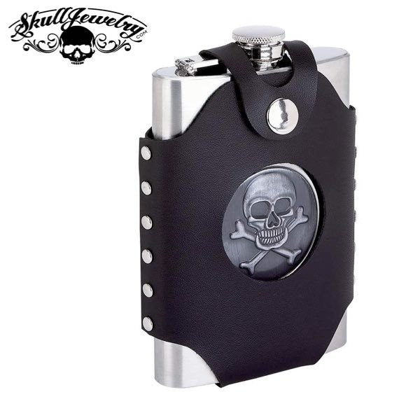 'Tougher Than Leather' 8 oz. Stainless Steel Skull/Crossbones Flask