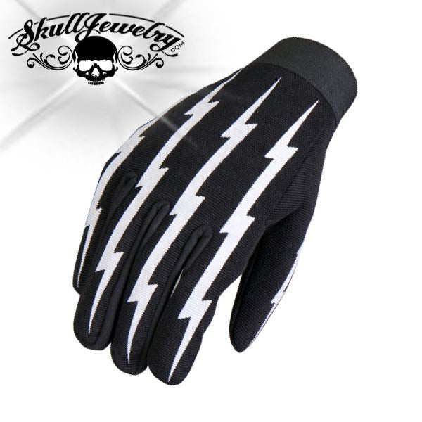 Black Lightning Bolt Mechanic Gloves