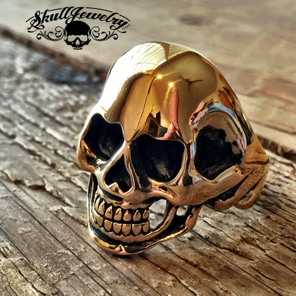 18k Gold Stainless Steel Gold Finger Skull Ring