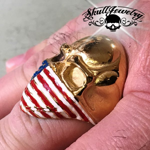 gold american infidel skull ring with painted red white and blue usa flag