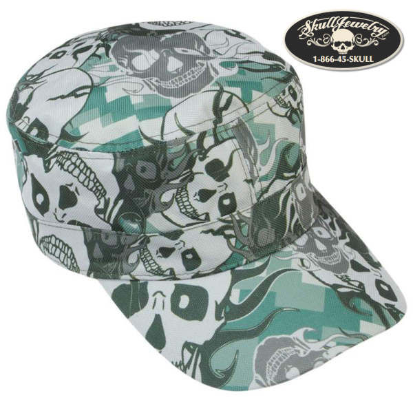 Grey Skull Camo Design Cap