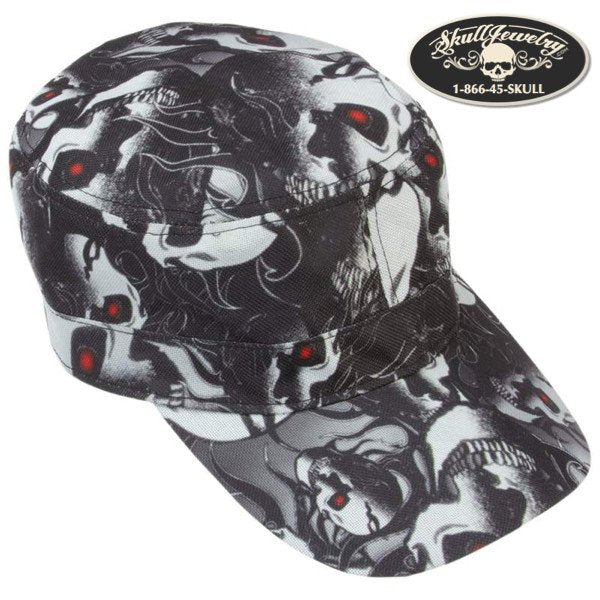 Red Eye Skull Design Cap