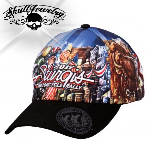 Official 2017 Sturgis Motorcycle Rally #1 Design Uncle Sam Racer Ball Cap