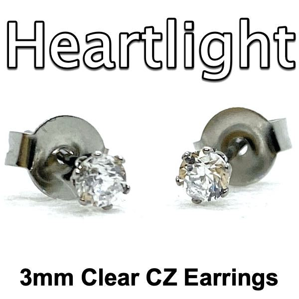 'Heartlight' 3mm Clear CZ Earrings (e053)
