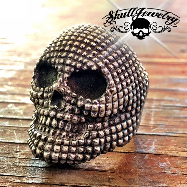Big & Bold Studded Stainless Steel Skull Ring