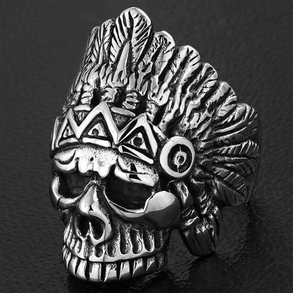indian chief skull ring