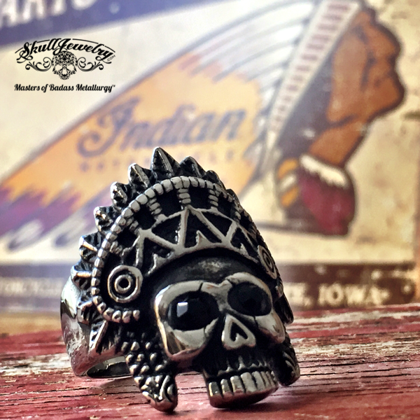 Apache Death Skull Ring with fancy Headdress
