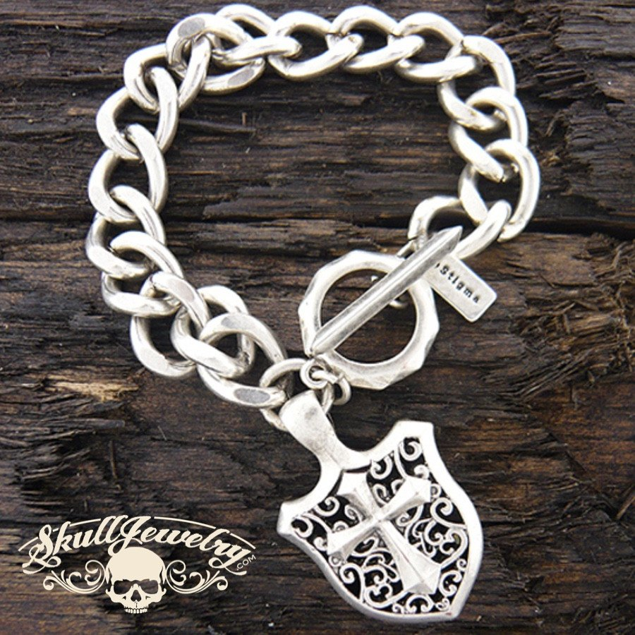 Mens stainless steel chain bracelet - cross shield charm