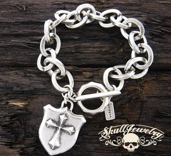 Stainless Steel Bracelet with Cross and Shield