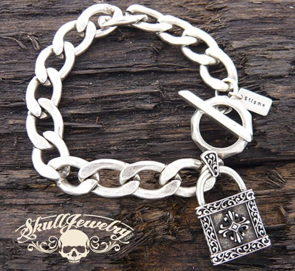 Stainless Steel Bracelet with Cross and Lock