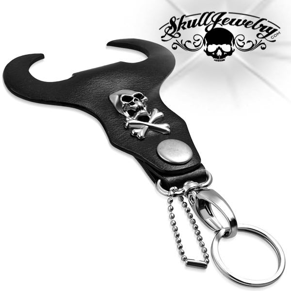Skull & Crossbones Biker Key Chain w/ Leather Bullhead