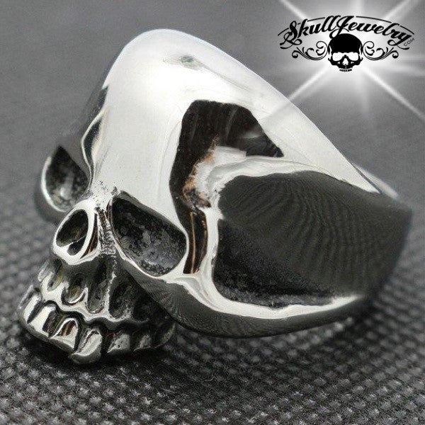 Stainless Steel Matte Finished Skull Bat Wing Flat Band Ring