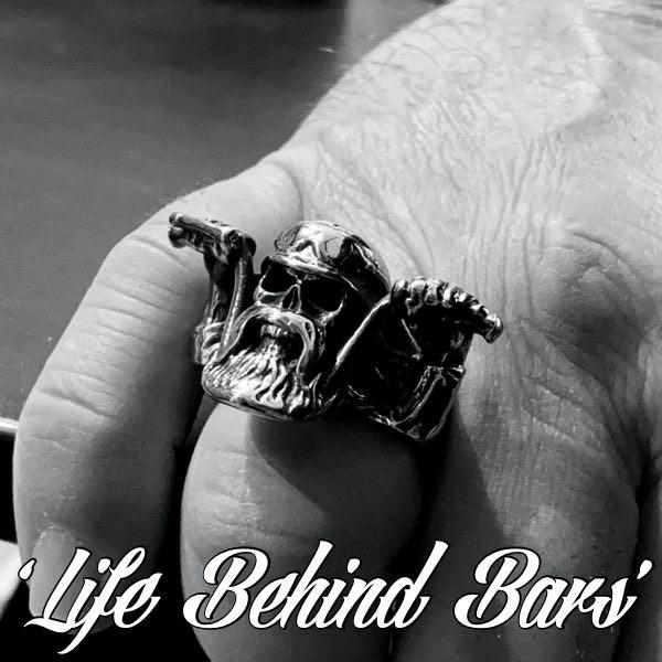 life behind bars skull biker bearded ring