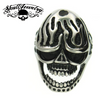 Light My Fire - skull ring with flames and cross on sides