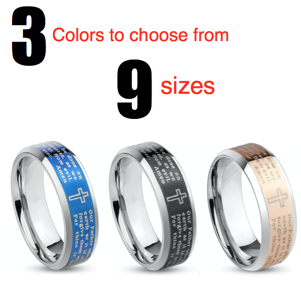 Lord's Prayer Beveled Band Stainless Steel Ring