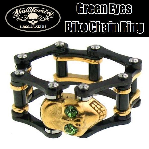 Green Eyes On Black/Gold Bike Chain Ring (m0017)