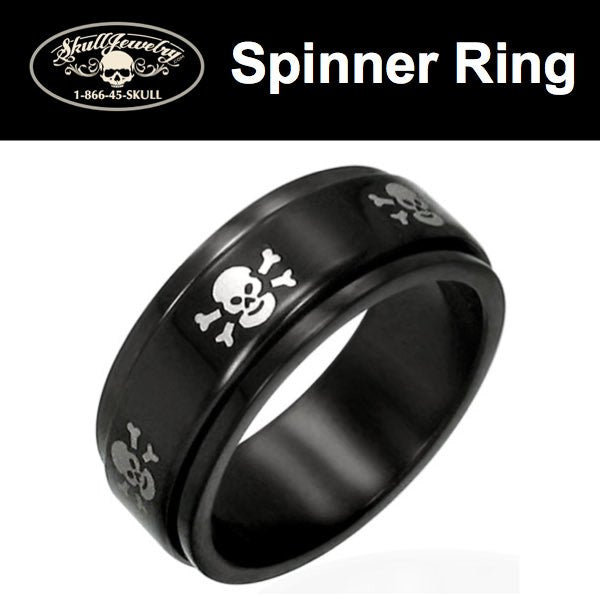 'Black Steel' Skulls Spinner Ring