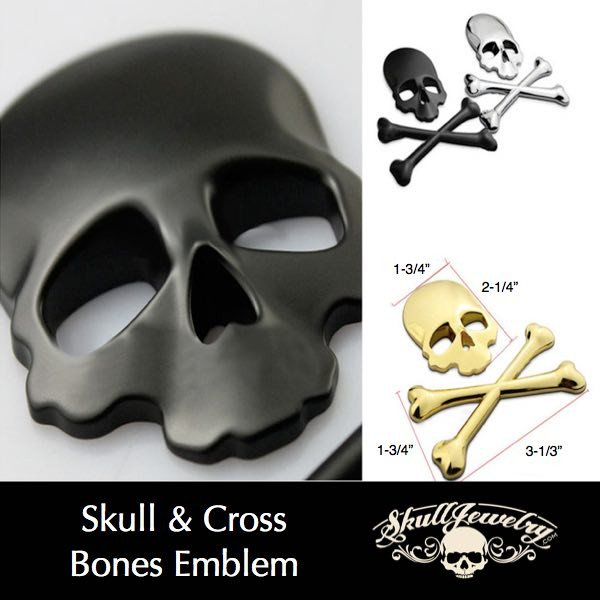 Skull & Cross Bones Emblem; Black, Stainless or Gold