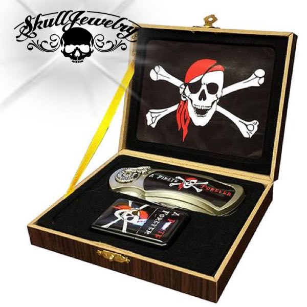 Skull & Bones - Lighter/Knife Gift Set