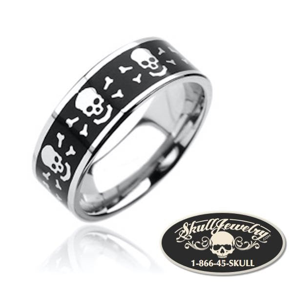 Round Skull & Bones Stainless Steel Ring