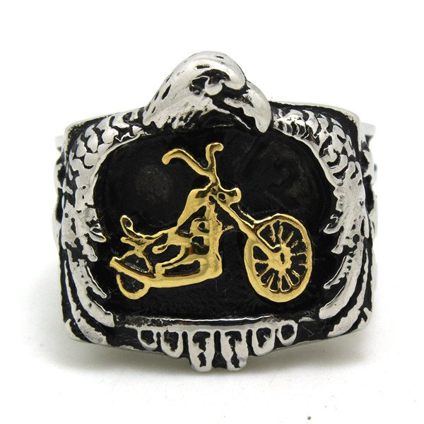 Stainless Steel Cool Biker Eagle Gold or Silver (your choice) Newest Design Biker Ring