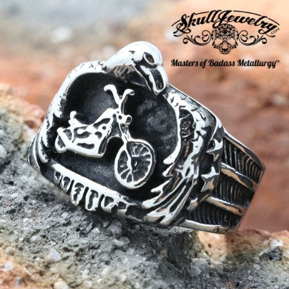 biker motorcycle ring in silver tone