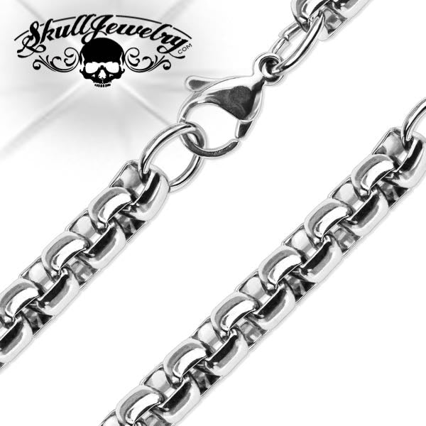 Hand Polished Stainless Steel Round Box Chain Necklace (n040)