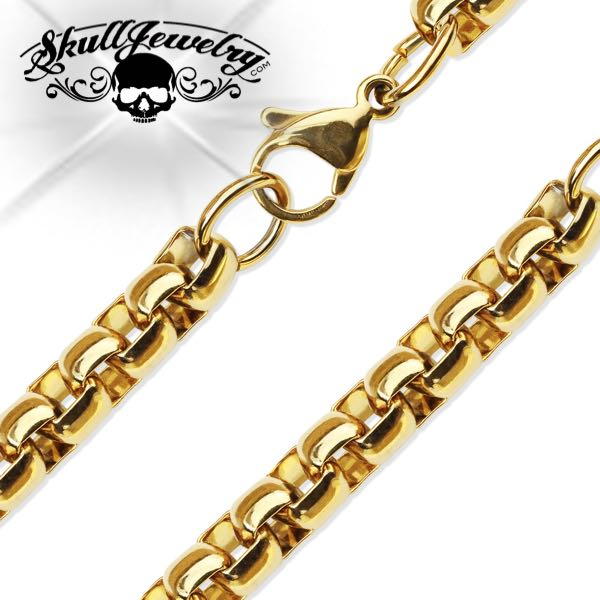 Gold PVD Stainless Steel Round Box Chain Necklace (n041)