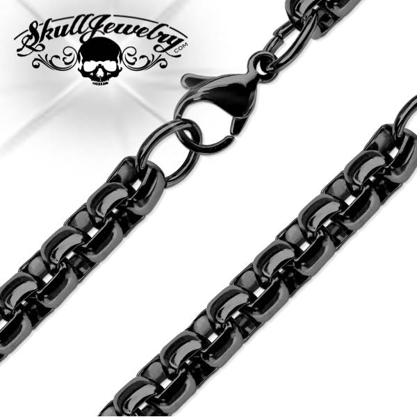 Black PVD Stainless Steel Round Box Chain Necklaces