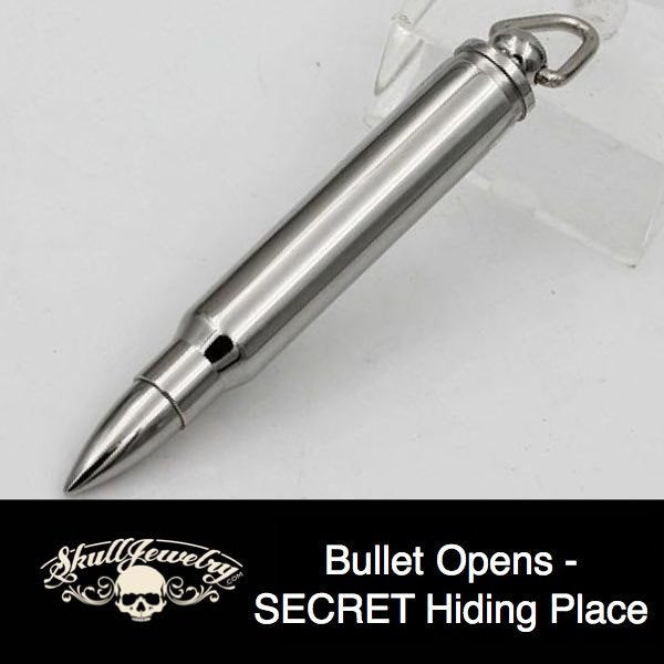 LARGE Stainless Steel Bullet Pendant with Pill Case Holder, Cremation Urn (p107)