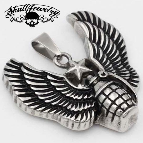 'You Dropped a Bomb on Me' Eagle Wings & Grenade Pendant