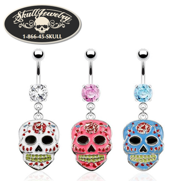 Sugar Skull Navel Belly Button Dangle in clear, pink or blue cubic zirconia