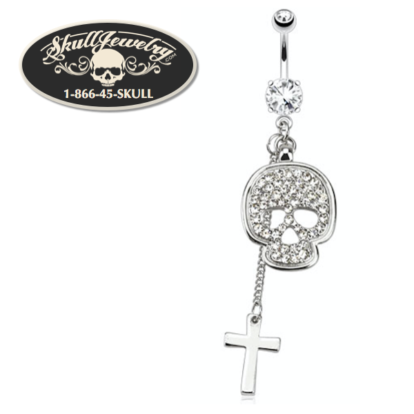 Bling Skull & Cross 316L Surgical Steel Navel Ring