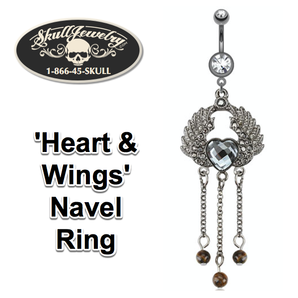 'Heart & Wings' Navel Ring