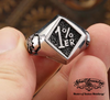 badass 1% er skull ring on two sides  outlaw biker ring