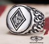 badass outlaw biker ring 1%er with flames on 2 sides