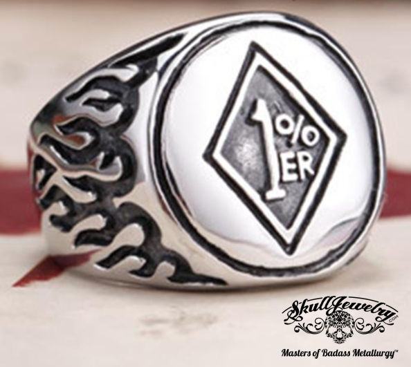 classic outlaw 1%er biker ring with flames on the sides