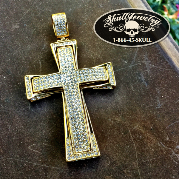 Large & Heavy Cross w/Cubic Zircona