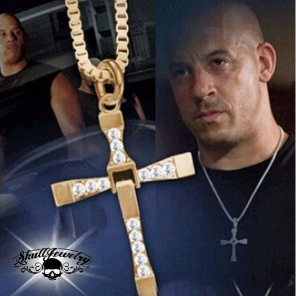 vin diesel gold cross pendant from fast and furious