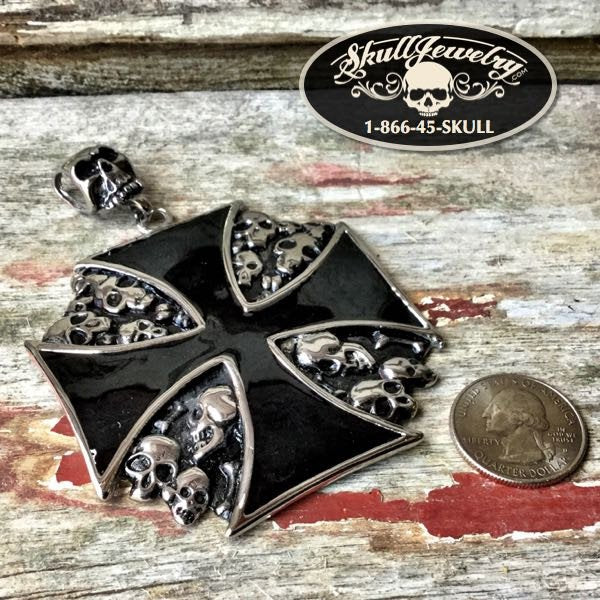 Huge Iron Cross and Skull Pendant