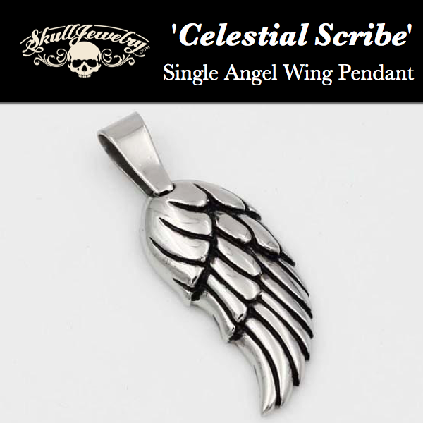 'Celestial Scribe' Single Angel Wing Pendant
