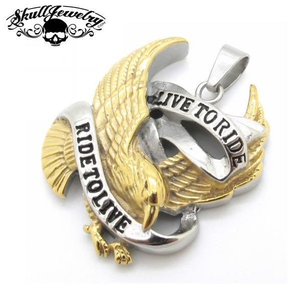 GOLD 'Live to Ride, Ride To Live' Pendant